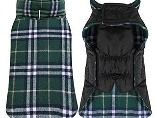 Reversible Cozy Dog Winter Coat Waterproof Windproof British Style Plaid Warm Vest Clothes Apparel for Winter Cold Weather Outfit Soft Sweater for Small Medium large Dogs   Green  XXXl