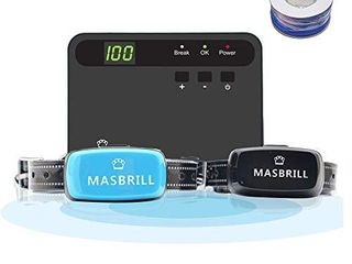 MASBRIll Electric Dog Fence  Underground Fence Containment Systerm  Suitable for Small  Medium  Big Dogs  Best Pet Safety Solution  Equip 2 Rechargeable Waterproof Collars