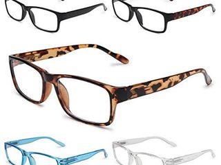 GAOYE 5 Pack Reading Glasses Blue light Blocking with Spring Hinge Readers for Women Men Anti Glare Filter lightweight Eyeglasses  5 Pack  1 5