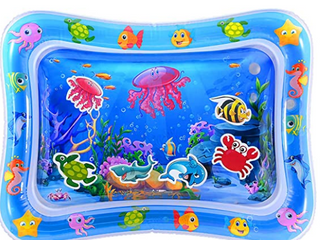 heytech Tummy Time Mat large Size Baby Water Play Mat Mat 33 5 X24  Infant Toy Inflatable Play Mat for 3 6 9 Months Newborn Boy Girl