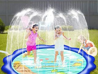 Neteast Outdoor Sprinkler Toys for 1 2 3 4 5 6 7 Year Old Kids and Toddlers  Outside Dinosaur Themed Splash Pad Water Toys for Boys Girls and Baby