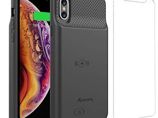 iPhone Xs X Battery Case  BXXs Slim Portable Protective Extended Charger Cover with Wireless Charging Compatible with iPhone X   iPhone Xs  5 8 inch     Black