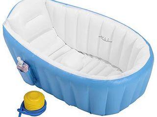 EOSAGA Baby Inflatable Bathtub Portable Mini Air Swimming Pool Toddler Thick Foldable Shower Basin  Blue