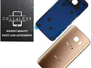 CEll4lESS Compatible Back Glass Cover Battery Door w Pre Installed Adhesive Replacement for Samsung Galaxy S7  NOT S7 Edge  G930 Models   All Carriers No IMEI  2 logo   OEM Replacement Part  Gold