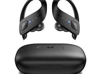 Axloie Wireless Earbuds Sport  Bluetooth 5 0 Headphones True Wireless Deep Bass in Ear Mini Stereo IPX7 Waterproof 25H Playtime Wireless Earphones with Charging Case for Running Workout Gym Black