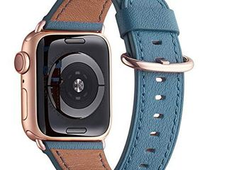 WFEAGl Compatible iWatch Band 44mm 42mm Top Grain leather Band with Gold Adapter  The Same as Series 5 4 3 with Gold Aluminum Case in Color  for iWatch Series 5 4 3 2 1 light Blue Rose Gold Adapter
