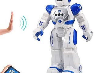 Sikaye RC Robot for Kids Intelligent Programmable Robot with Infrared Controller Toys  Dancing  Singing  led Eyes  Gesture Sensing Robot Kit  Blue