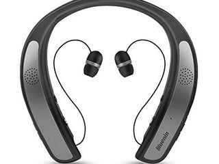 Bluetooth Headphones Speaker 2 in 1 Bluenin Wireless Headphones Neckband Wearable Speaker Retractable Earbuds 3D Stereo Sound Sweatproof Headset with Mic  Gray