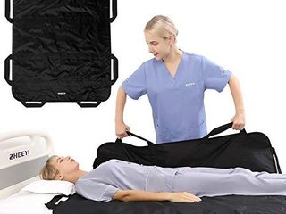 ZHEEYI Bed Positioning Pad with Reinforced Handles 48  x 40  lifting Turning Patient Sheet Transfer Blanket for Caregiver  Bedridden  Elderly  Black