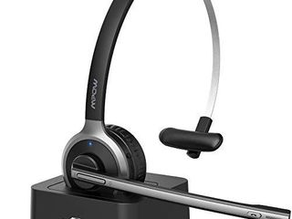 Mpow M5 Pro Bluetooth Headset with Microphone  Wireless Headphones for Cell Phone  Noise Canceling Headset with Charging Base for PC  laptop  Truck Driver  Office  Call Center  Skype