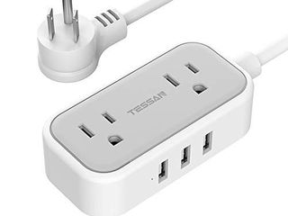 Small Flat Plug Power Strip with 3 USB Ports  TESSAN 2 Outlet Portable Plug Strip with 5 Feet Extension Cord  Mini Nightstand Desktop Charging Station Hub for Dorm Room Cruise Travel Essentials