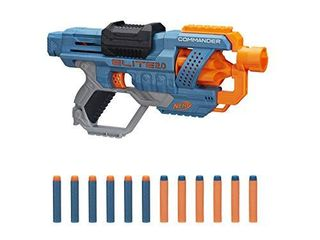 NERF Elite 2 0 Commander RD 6 Blaster  12 Official Darts  6 Dart Rotating Drum  Tactical Rails  Barrel and Stock Attachment Points