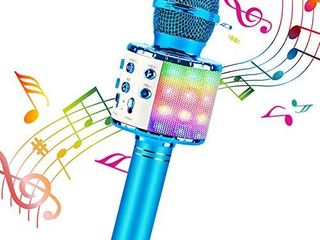 ShinePick Bluetooth Karaoke Wireless Microphone  4 in 1 Karaoke Machine Portable Microphone for Kids  Home KTV Player  Compatible with Android   iOS Devices  Blue