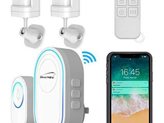 Motion Sensor Detector Driveway Alarm  WiFi Security System with Doorbell  Caregiver Pager Smart Call Hub  SOS Button Remote Controller  APP Push Notification  Two way Alert  433MHz Wireless Gateway