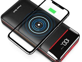 Wireless Portable Charger 25000mAh Power Bank with 3 Outputs  2 Inputs Huge Capacity Backup Battery with lCD Display  Compatible with Smart Phones Android Phone Tablet and More