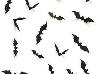 HOZZQ DIY Halloween Party Supplies PVC 3D Decorative Scary Bats Wall Decal Wall Sticker  Halloween Eve Decor Home Window Decoration Set  28pcs  Black