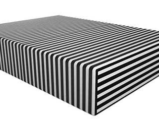 NTBAY Microfiber Striped Queen Fitted Sheet  Black and White Deep Pocket Bed Sheet  Wrinkle  Fade  Stain Resistant