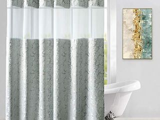 UFRIDAY Silvery Grey Fabric Shower Curtain with Damask Floral Design   Waterproof  light Filtering Window and Treated to Weighted Bottom Hem   72 x 78 Inches