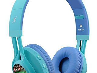 Riwbox WT 7S Bluetooth Headphones  lED light Up Wireless Foldable Stereo Headset with Microphone and Volume Control for PC iPhone TV iPad  Blue