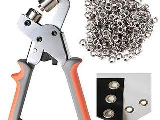lACUISINE Grommet Tool Kit Handheld Hole Punch Pliers Portable Grommet Hand Press Machine Manual Puncher w  500pcs Silver Grommets of 3 8 Inch  10mm