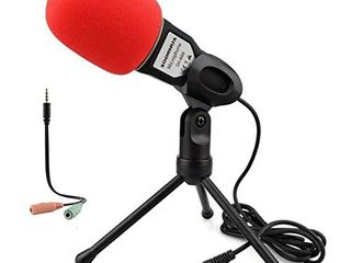Condenser Microphone Computer Microphone SOONHUA 3 5MM Plug and Play Omnidirectional Mic with Desktop Stand for Gaming YouTube Video Recording Podcast Studio for PC laptop Tablet Phone