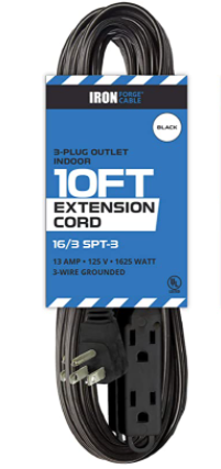 Iron Forge cable 2pack   3 plug outlet indoor   10 foot extension cord   black