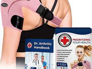 Doctor Developed Shoulder Support   Shoulder Strap   Shoulder Brace  Single    Doctor Written Handbook   Relief for Shoulder Injuries  for both left   right  Pink