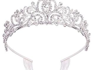 Didder Silver Crystal Tiara Crowns For Women Girls Princess Elegant Crown with Combs Women s Headbands Bridal Wedding Prom Birthday Party Headbands for Women  Broken  can easily be reattached