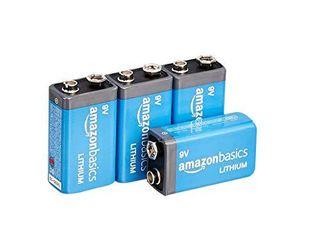 Amazon Basics 4 Pack 9 Volt High Performance lithium Batteries  10 Year Shelf life  long lasting Power