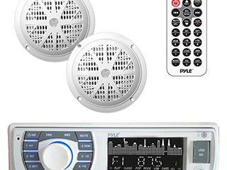 Marine Receiver   Speaker Kit   In Dash lCD Digital Stereo Built in Bluetooth   Microphone w  AM FM Radio System 5 25 Waterproof Speakers  2  MP3 USB SD Readers   Remote Control   Pyle PlMRKT36WT