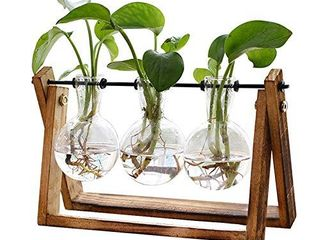 XXXFlOWER Plant Terrarium with Wooden Stand  Air Planter Bulb Glass Vase Metal Swivel Holder Retro Tabletop for Hydroponics Home Garden Office Decoration   3 Bulb Vase