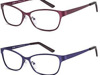 lAURA FAIRY 2 Pack Blue light Blocking Reading Glasses  Women and Men Metal Frame Computer Reading Glasses with Spring Hinge lightweight UV Protection Anti Glare Eyestrain  1 5D