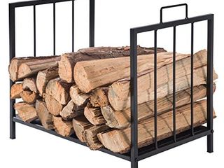 MyGift Compact Firewood Rack  Wood log or Kindling Holder  Metal Fireplace Organizer  Black