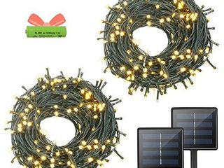 OZS  2Pack Each 72FT 200lED Solar lights Outdoor  Upgraded Super Bright Solar String lights Outdoor Waterproof  8 Modes Solar Christmas lights for Wedding Patio Garden Tree Party  Warm White