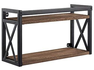 2 Tier Floating Shelves with Black Metal  Industrial Floating Wall Shelves  Wall Mounted Wood Book and Display Shelving for Bedroom  Bathroom  living Room  Kitchen