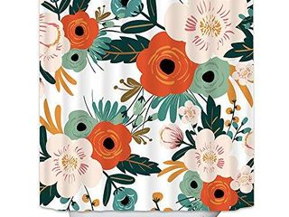 Riyidecor Spring Flower Shower Curtain Set Season Floral Green leaves Nature Herbs Plants Bathroom Decor Fabric Panel Polyester Waterproof 72Wx72H Inch 12 Pack Plastic Shower Hooks