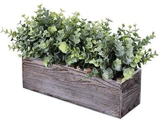 Faux Eucalyptus Plants in Rustic Rectangular Wood Planter Box Artificial Eucalyptus Greenery Arrangement Potted Plant in Dusty Green for Wedding Centerpiece Office Room Table Windowsill Decor