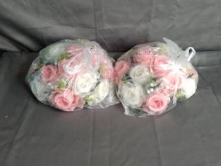 ROSE FlOWERS TABlE CENTER PIECE  PINK   WHITE