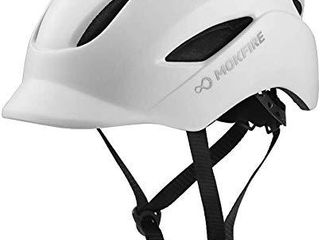 MOKFIRE Adult Bike Helmet That s light  Cool   Sleek  Bicycle Cycling Helmet with Rear light for Urban Commuter Adjustable Size for Adults Men Women   White