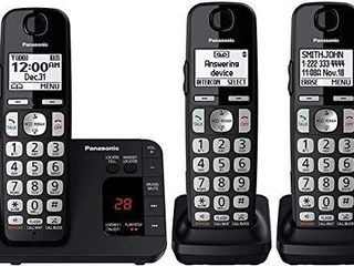 Panasonic DECT 6 0 Expandable Cordless Phone System with Answering Machine and Call Blocking   3 Handsets   KX TGE433B  Black