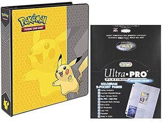 Ultra Pro Pokemon Pikachu 2  3 Ring Binder Card Album with 100 Platinum Series 9 Pocket Sheets