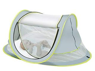 OBloved Baby Beach Tent  large Portable Baby Travel Tent  UPF 50  UV Protection Sun Shelters  Pop Up Folding Baby Travel Tent with Mosquito Net  lightweight  Compact and Easy Assembly with 2 Pegs
