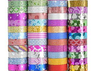 50 Rolls Glitter Washi Masking Tape Set  Glitter Washi Masking Tape with Eye Appealing Box  Decorative Craft Tape Glitter Craft Tapes for Crafts  DIY Scrapbook  Gift Wrapping  Masking Paper Tape