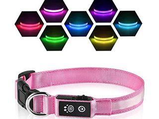lED Dog Collar   100  Waterproof light Up Safety Pet Collar   Rechargeable Flashing light Collar with Fiber  Basic Dog Collarsa
