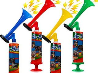 4 Pieces Mini Air Horn Pump Noisemakers 10 Inch Party Air Horns with Hand Pumps for Sporting Events  Parties  Celebrations  Cheerleading Contest  Musical Play