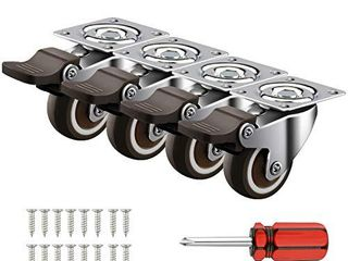 4 Pack 1  Caster Wheels Swivel Plate w Break Casters On Black Polyurethane Wheels Heavy Duty   100 lbs Total Capacity Caster  4 with Brake  16 Screws   A Handy Screwdriver for Free