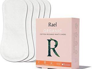 Rael Organic Reusable Cloth Pantyliners   Soft and Thin  leak Free  Washing Machine Safe  Daily Pantyliner  Set of 5  White