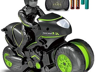 Masefu RC Stunt Car with Extra Batteries  Remote Control Motorcycle Stunt Power Wheel Motorcycle Car   2 4 GHz High Speed  360 Spinning Action Drift Racing Motorcycle for Boys Girls 5 12 Years Kids