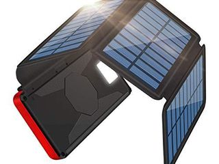Solar Charger 26800mAh Portable Power Bank External Battery Charger Pack For Outdoor  2 Inputs 2 USB Outputs  Water Resistant Phone Charger with lED Flashlight Compatible Most Phones  Tablets and More