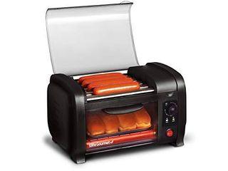 Elite Gourmet EHD 051B Hot Dog Toaster Oven  30 Min Timer  Stainless Steel Heat Rollers Bake   Crumb Tray  World Series Baseball  4 Bun Capacity  Black